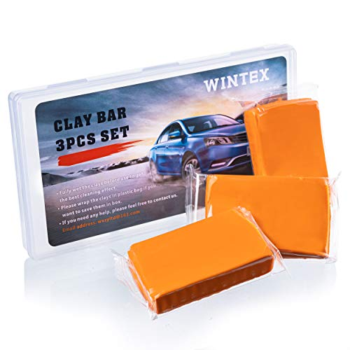 WINTEX Car Clay Bar 3 Pack 100g Auto Detailing Clay Bar Premium Car Wash Cleaner with Storge Case, Magic Clay Bar Supplies Washing and Adsorption Capacity for Cleaning Cars, ATV, RV, Boats and Bus
