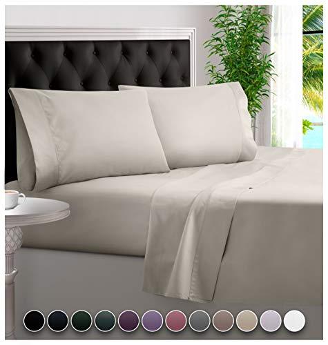 BAMPURE 100% Organic Bamboo Sheets - Bamboo Bed Sheets Organic Sheets Deep Pocket Sheets Bed Set Cooling Sheets King Size, Ivory