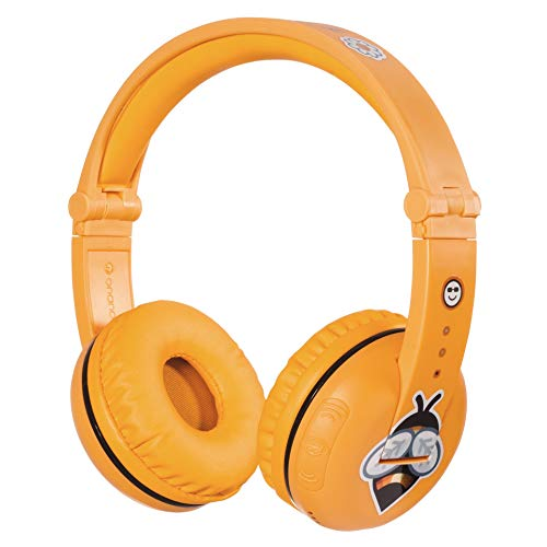 BuddyPhones Play, Wireless Bluetooth Volume-Limiting Kids Headphones, 18-Hour Battery Life, 4 Volume Settings, Anti-Allergic Earpads, BuddyCable for Sharing, Yellow