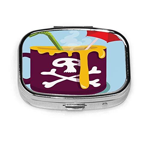 Tasse Kaffee Schädel Vektor Herren Tasche Pille Box Pille Box Tablettenhalter Brieftasche Organizer Fall für Tasche oder Geldbörse