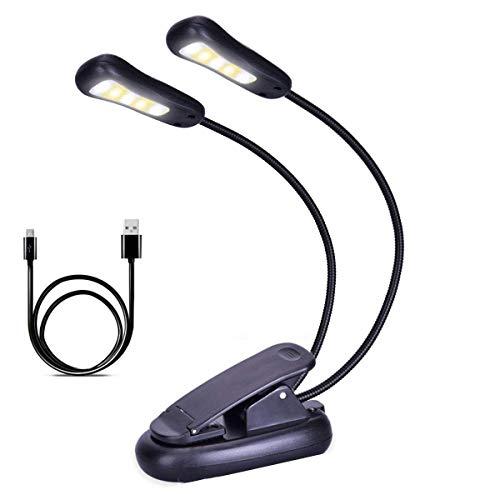 SH-RuiDu - Lámpara LED de lectura nocturna, recargable por USB, luz de lectura flexible con clip en color cambiable con brillo de 9 niveles para los gusanos de biblioteca, niños