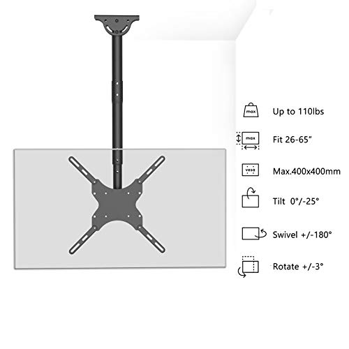 WALI TV Ceiling Mount Adjustable Bracket Fits Most LED, LCD, OLED and Plasma Flat Screen Display 26 to 65 Inch, up to 110 Lbs, VESA 400x400mm (CM2665), Black