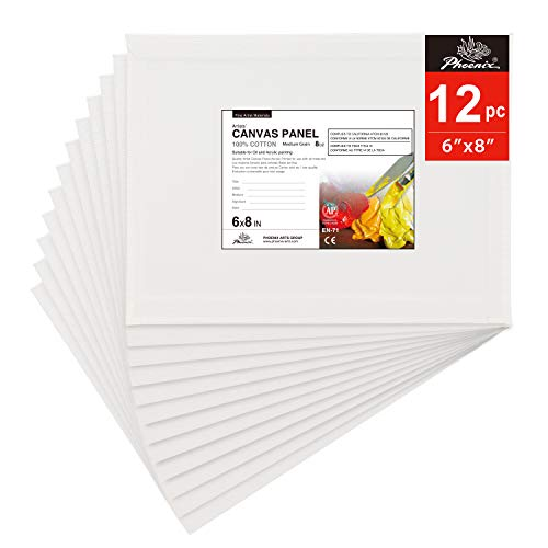 PHOENIX Artist Painting Canvas Panels - 6x8 Inch / 12 Pack - Triple Primed Cotton Canvas Boards for Oil