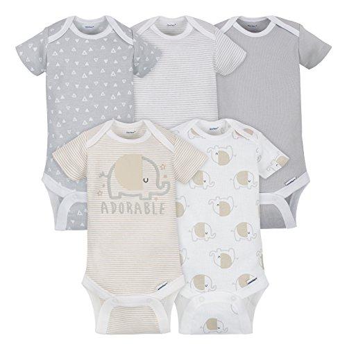 Gerber Baby 5 Pack Onesies, Elephant, 0-3