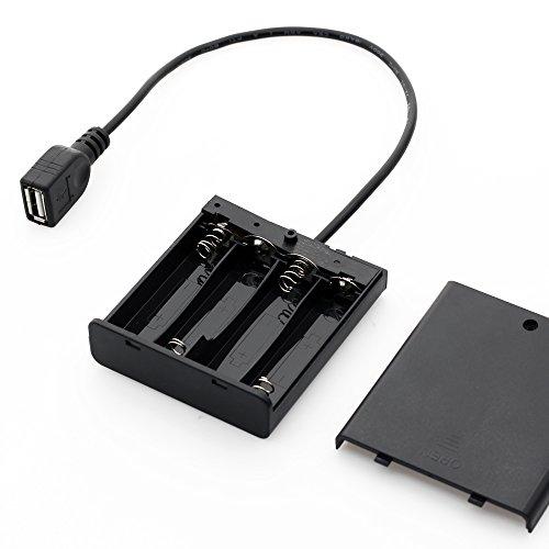 Mini portátil Fuente de alimentación USB Caja de batería for 5050 3528 LED luz de tira DC5V ILFYJRHD