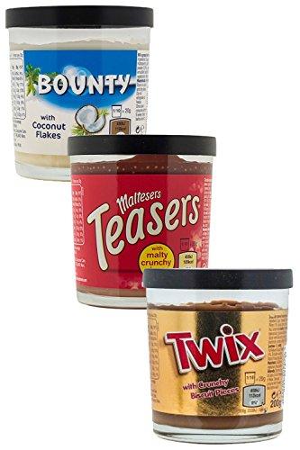 Malteser, Twix & Bounty Aufstrich Paket 600 Gramm (je 200 Gramm)