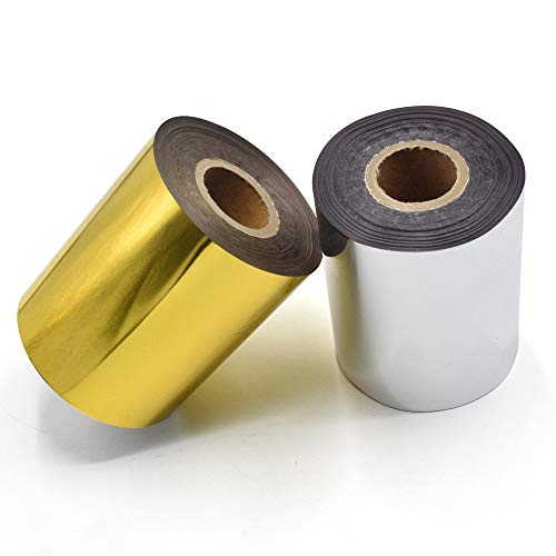 """Hot Foil Stamping Paper 1 Roll Gold + 1 Roll Silver 3"""" x 400ft PU Heat Transfer Anodized Gilded Paper for Hot Foil Stamping Machine (3 inch, Gold+Silver)"""