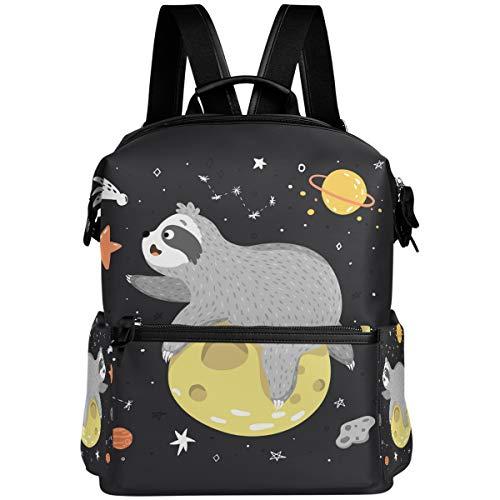 Oarencol - Mochila con diseño de perezoso en el espacio, diseño de estrella y luna, para viajes, senderismo, acampada, portátil