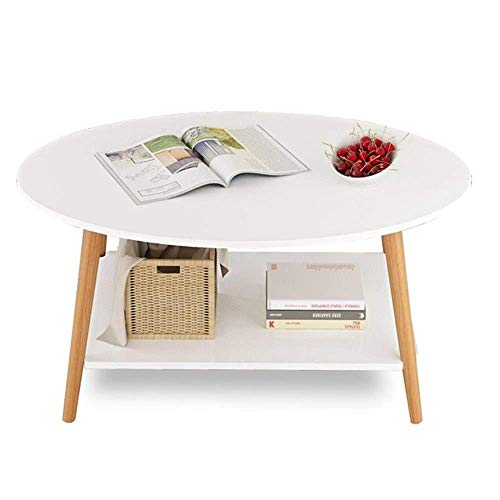 LILICEN LYJ Coffee Table Solid Wood End Table—coffee Table For Living Room—oval Sofa Table With Storage Rack Sturdy Construction Easy Assembly Sofa Side End Table (Color : White, Size : 90X50X41CM