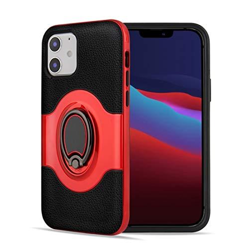LESLEY For iPhone 12 Pro 6.1 Pulgadas de Doble Capa de TPU + PC híbrido Caso a Prueba de Golpes con Armadura 360 Titular Grado Anillo giratoria de Metal 2021 Red