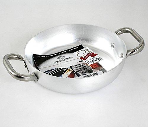 Pentole Agnelli ALMA11036 Tegame con 2 Maniglie Inox, Alluminio Professionale 3 mm, 36 cm
