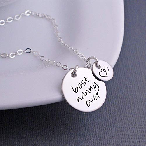 Christmas Gift for Nanny, Silver Best Nanny Ever Necklace, Nanny Jewelry Gift with Heart Charm