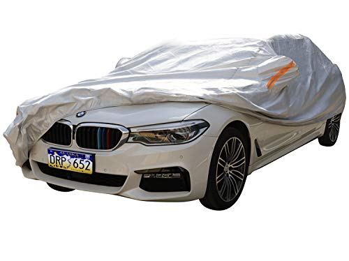XYZCTEM Car Cover-Silver 6-Layer 100% Waterproof Aluminum All Weather Protects Paint from Snow, Ice, Rain, Birds, UV and Heat,for Auto Vehicle Indoor Outdoor Use (195' to 210')-XXL