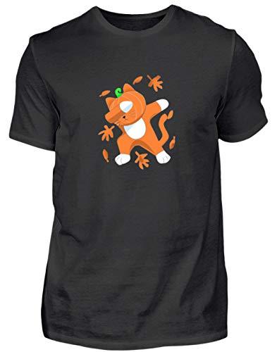 Dabbing kat met pompoenkop Cat Pumpkin Halloween - eenvoudig en grappig design - heren shirt
