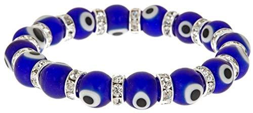 Braccialetto elastico portafortuna con occhio greco, in vero vetro di Murano, Nazar blu Taglia unica