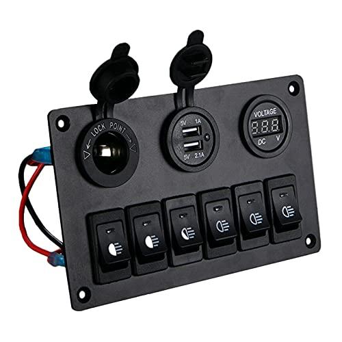 ZHANGJIN 6 Panel de interruptores de pandillas con un voltímetro Digital de 12V-24V Dual Lighter Socket Fit para RV Truck Boat SUV (Color : Black)