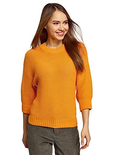 oodji Ultra Mujer Jersey Holgado de Punto Texturizado, Naranja, ES 42 / L