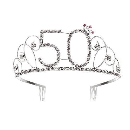 AllRing Corona per compleanno, 50 anni, diadema con pettine per capelli in cristallo e strass, regalo di compleanno 50 anni