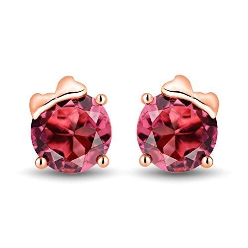 Bishilin Pendientes Oro Rosa 750 18 Kilates, 1.63ct de Turmalina Rosa de Corte Redondo Aretes Elegante Ajuste Cómodo Pendientes de Botón Para Mujer Elegante Para Cumpleaños Navidad