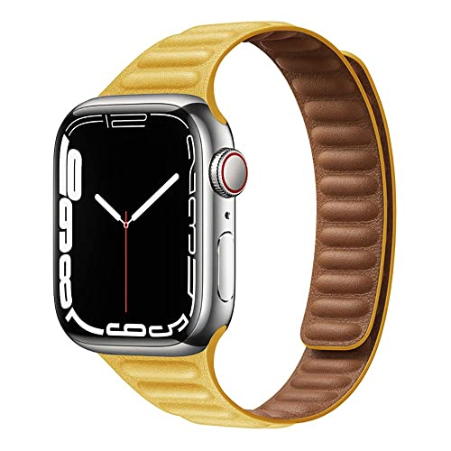Mujeres Hombres Ajustable Bandas con Cierre Magnético,Correa de Cuero Compatible con Apple Watch Series SE/7/6/5/4/3,Piel Repuesto Pulsera para iWatch 44mm 42mm 41mm 45mm 38mm 40mm,Amarillo