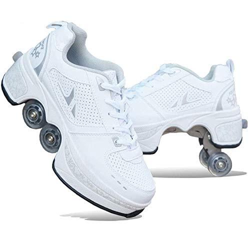AXYQ Inline-Skate, 2-in-1-Mehrzweckschuhe, Verstellbare Quad-Rollschuh-Stiefel,White-39
