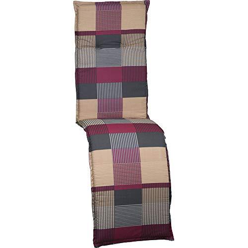 nxtbuy Auflage für Relaxliegen Barcelona 171x50x6cm - Liegenauflage mit Komfortschaumkern und Bezug - Sitzpolster für Gartenliegen, Dessin:Patchwork Red