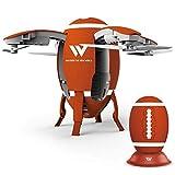 Drone en Forme d'oeuf plié Rugby WiFi Positionnement aérien en Temps réel Aéronef Quatre Axes Fixe Avion télécommandé Débutant Intelligent Enfant Jouet de Vol Adulte Mini Drone UFO (Couleur: Or