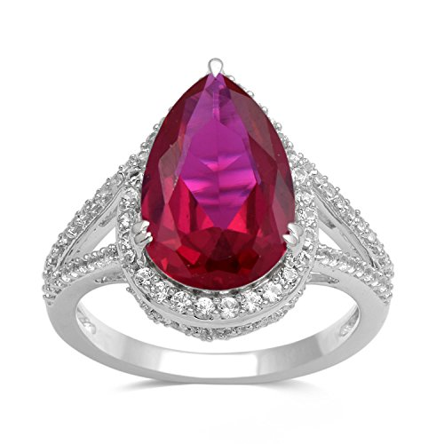 Jewelili Sterling Silver 14x9mm Pear Created Ruby and Round Created White Sapphire Teardrop Halo Ring, Size 8