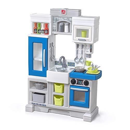 Step2 Urban City Kitchen   Small Plastic Play Kitchen & Toy Accessories Set   Blue Kids Kitchen Playset