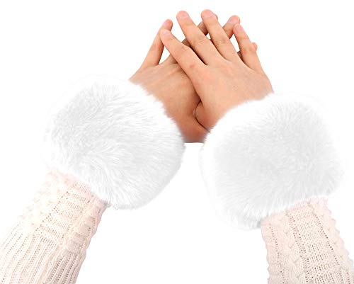 Simplicity Faux Fur Costume Wrist Band Ring Cuff Fuzzy Arm Warmers,White