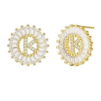 Cottvott Charms A-Z Alphabet Stud Earrings Women Initial Letter Earrings Jewelry 3 Colors  K-Gold Color