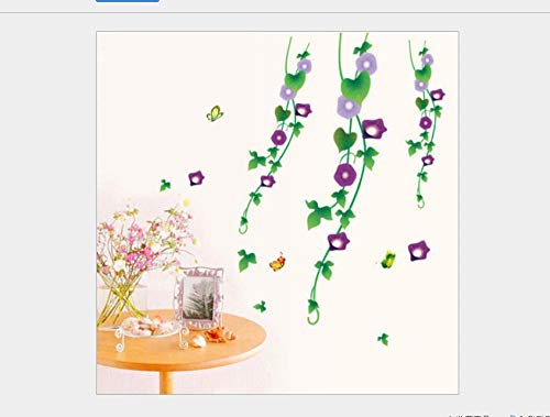 Wall Stickers Purple Morning Glory Butterfly Flower Rattan Living Room Sofa Bedroom Bedside Wall Sticker Fifth Generation Removable 50*70Cm