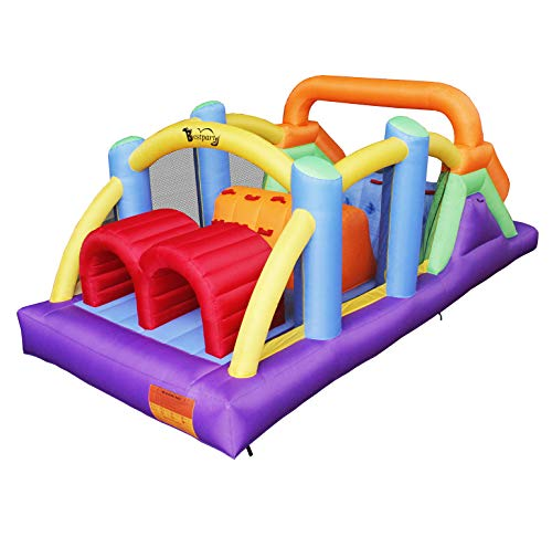 BESTPARTY Obstacle Course Inflatable Bounce House Castle with Large Slides Bounce Area and Obstacles Inflatable Bouncer House Jumper with Blower