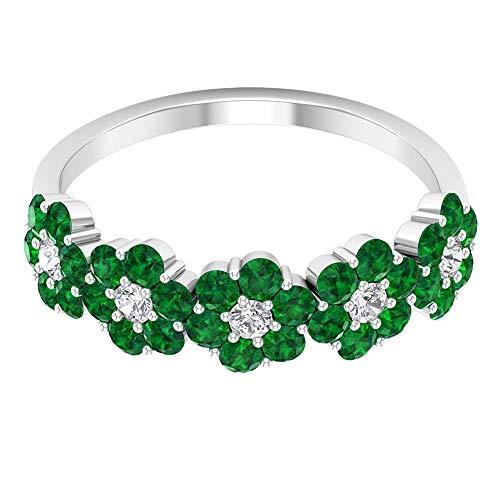 Anillo de esmeralda con certificado SGL de 1,2 quilates, diamante de 0,15 quilates para mujer, anillo de compromiso, anillo único de boda de dama de honor, anillo de oro, 14K Oro blanco, Size:EU 55