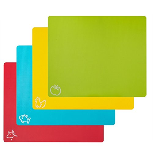 STGA Flexible Board Grade Plastic Kitchen Cutting Mat with Food Icons Set of 4 15#039#039×12#039#039 Multicolor