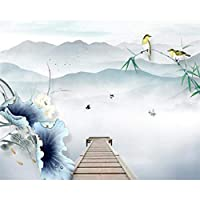 xueshao 写真壁紙インクペイント手描き細心のロータス竹風景背景壁壁紙3D-350X250Cm