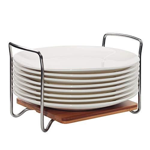 E-ROOM TREND - Organizador para Platos, tamaño Ajustable, 22-33 cm, Estante para Platos de bambú con Asas S304 fáciles de Llevar para cajones de Cocina, armarios, estantes (A017)