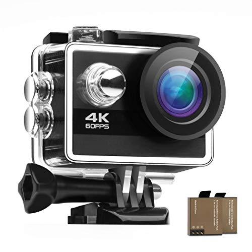 Tektalk Action Kamera 4K / 60 fps 24 MP WIFI 170 ° Weitwinkel, wasserdichte Sportkamera mit 2 × 1050 mAh Batterien, Unterwasser, 30 m wasserdicht und 17 Montagezubehör-Kits