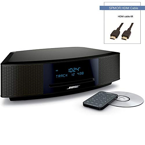 """Bose Wave Music System IV, CD/MP3 CD Player, Advanced AM/FM Tuner, Dual Alarm, Remote Control (Battery Pre-Installed), 2.4m AC Power Cable, 4.5"""" Inches Tall, Espresso Black, Spmor HDMI Cable"""