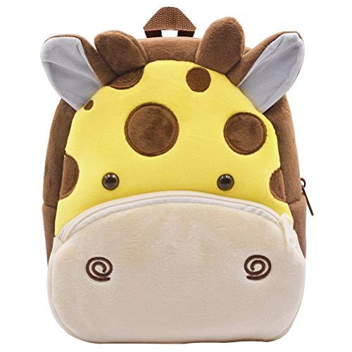 Mochila para niños ZSWQ-Mochila de Dibujos Animados para Animales Infantil Linda Mochilas para Guardería Animales 3D Suave Mochila de Felpa para Bebe(Jirafa)
