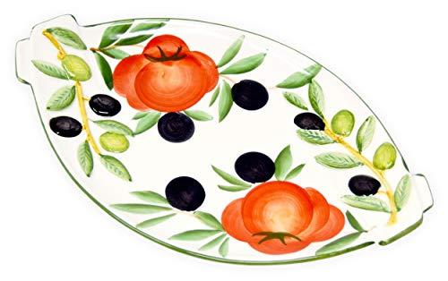 Lashuma Handgemachte Servierplatte Oval, Servierteller aus Italienischer Keramik Tomaten - Oliven, Größe 25 x 15 cm