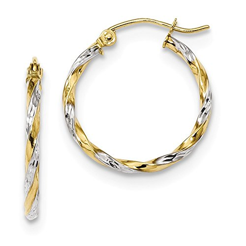 10k Yellow Gold Twisted Hoop Earrings Ear Hoops Set Round Fine Jewelry For Women Gifts For Her