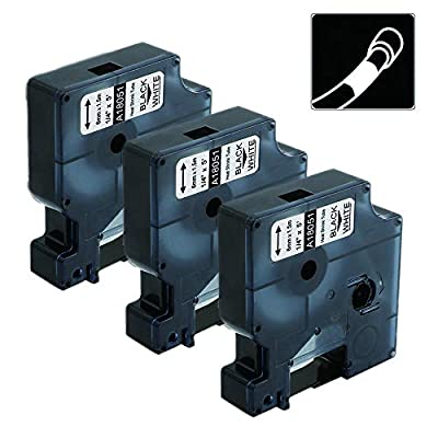 """3-Pack Compatible Industrial Flexible Nylon Label Tapes Replacement for DYMO 18051 1/4"""" for Use with DYMO Industrial Rhino 4200 5200 5000 6000 Label Maker, Black on White"""