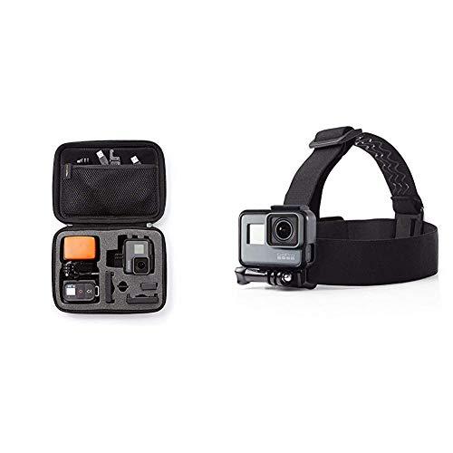 AmazonBasics - Estuche de Transporte para GoPro - Pequeño + Montura con Correas para Cabeza para cámara GoPro