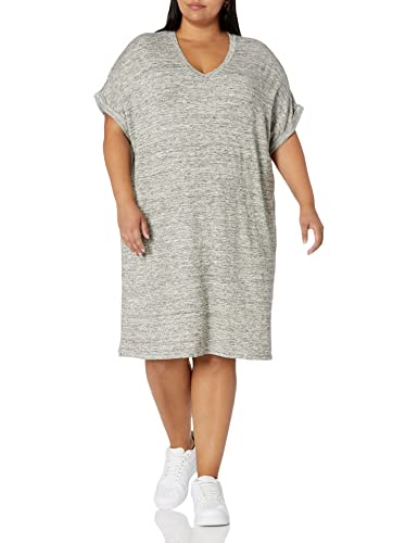 Amazon Brand - Daily Ritual Women's Supersoft Terry Deep V-Neck Roll-Sleeve High-Low Dress, Heather Grey Spacedye, Small