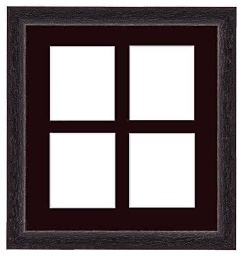 Framecraft fotolijst, hout, 15 x 10 cm 4 openingen, vierkant 6x4 Black (Sepia Mt)