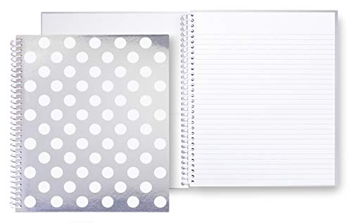 Kate Spade New York Large Spiral Notebook, 11' x 9.5' with 160 College Ruled Pages, Jumbo White Dot
