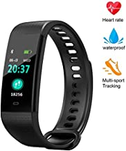 YZJ Blood Pressure Monitor Watch,Color Screen Fitness Tracker with Heart Rate Blood Oxygen Monitor,Smart Wristband with Calorie Counter Watch Pedometer Sleep Monitor(Black)