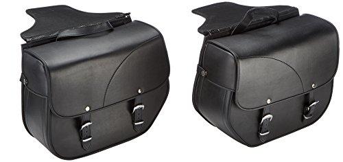 Customacces APS002N Alforjas de Cuero Sant Louis con Soportes Universales para Harley Davidson Sportster, Kawasaki Vulcan S, Negro, Size