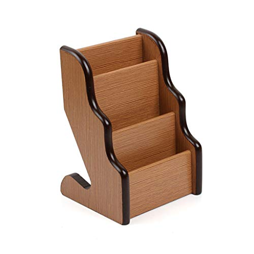 Estante para tarjetas de visita, suministros de oficina de estante de almacenamiento de madera de 3 niveles para bastidores de negocios organizadores multifuncionales de escritorio ( color : Natural ) ✅
